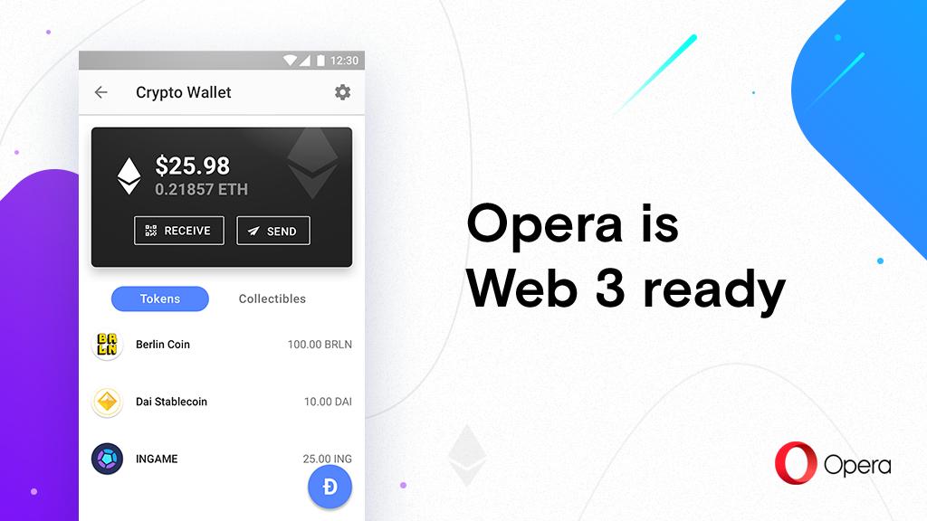 Opera представила готовый к Web 3.0 браузер для Android с поддержкой Ethereum