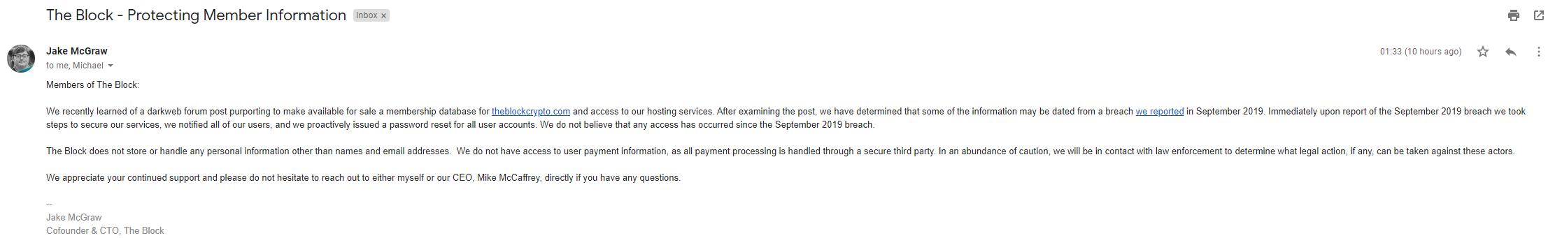 База данных платных подписчиков The Block предположительно продана на хакерском форуме