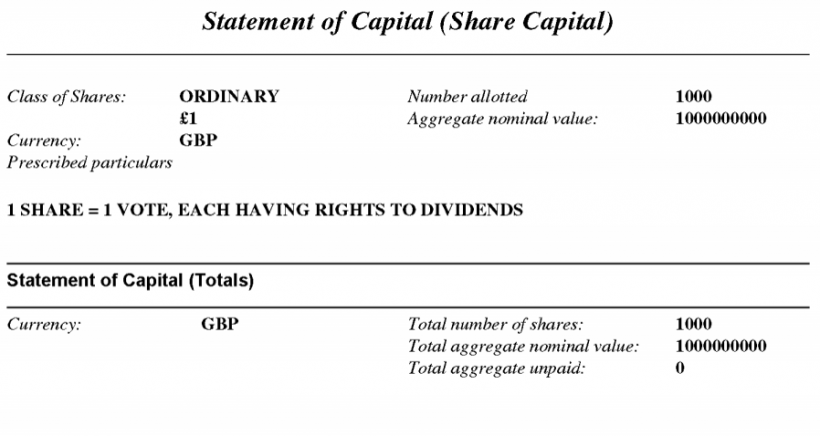 Cashbery International Limited Statement of Capital