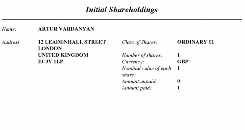 Cashbery Limited Statement Initial Shareholdings