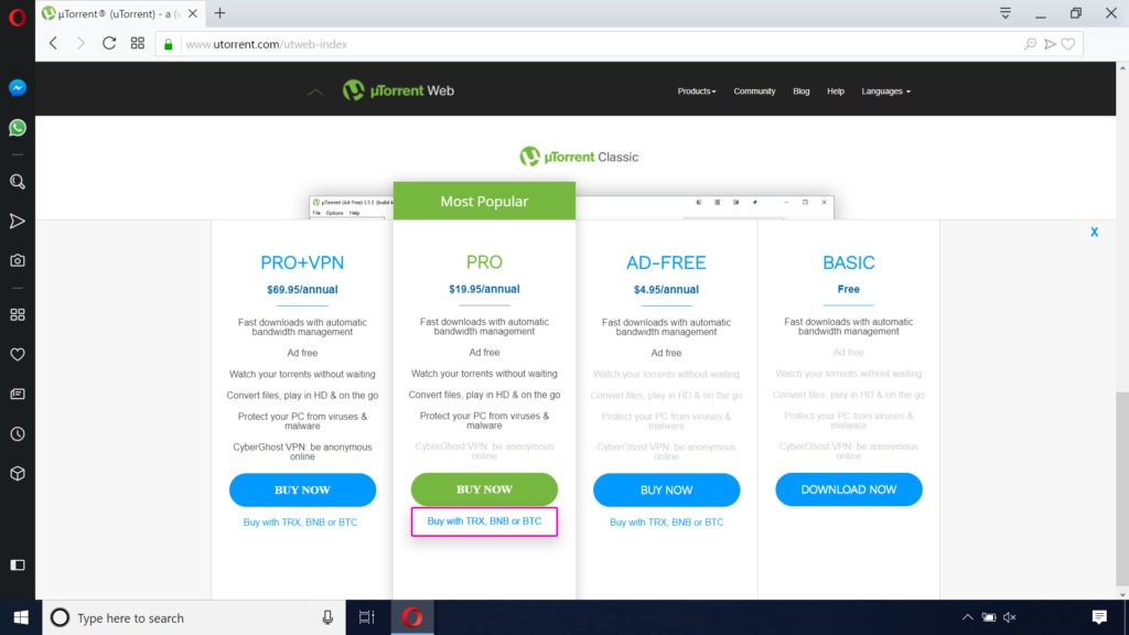 BitTorrent и µTorrent теперь принимают оплату в биткоинах, Binance Coin и TRON