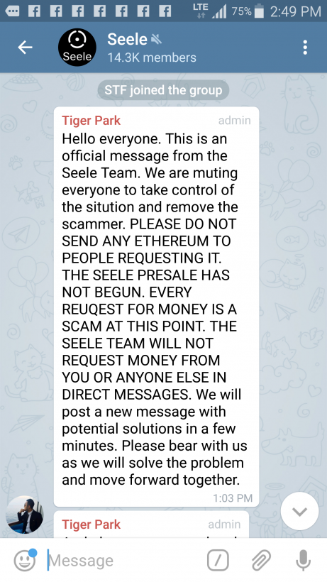 Псевдо-админы Telegram-канала проекта Seele похитили ,8 млн в Ethereum еще до старта ICO