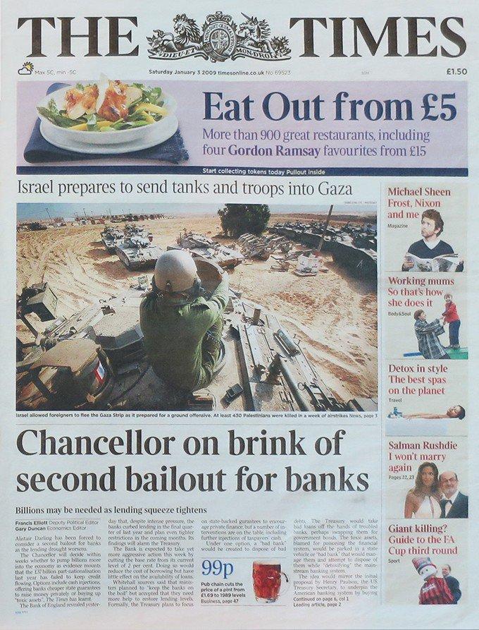Обложка британского издания The Times от 3 января 2009 года с вошедшей в историю фразой  «Chancellor on brink of second bailout for banks», включенной в генезис-блок биткоина.