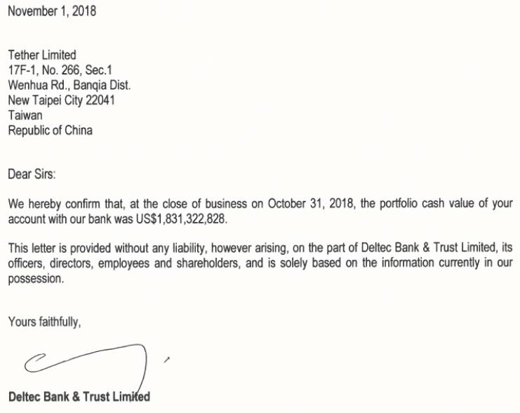 Глава багамского Deltec Bank заявил об аутентичности письма, подтверждающего платежеспособность Tether Ltd