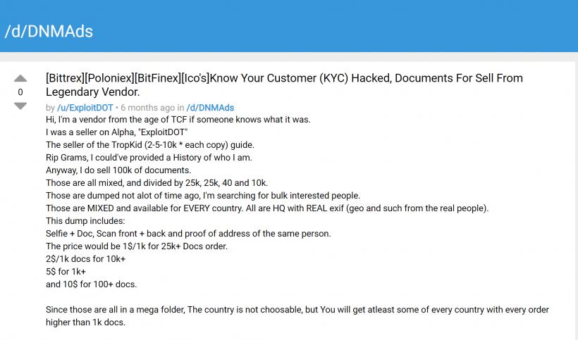 В даркнете продают KYC-данные пользователей Bittrex, Poloniex и Binance