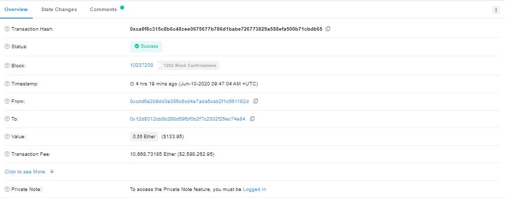 Пользователь Ethereum заплатил рекордные $2,6 млн за отправку $134
