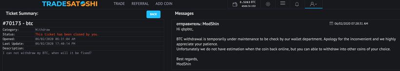 Пользователи Trade Satoshi: биржа прекратила вывод биткоина и других активов