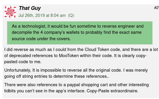 The comment pointing out that parts of CloudToken code came from elsewhere