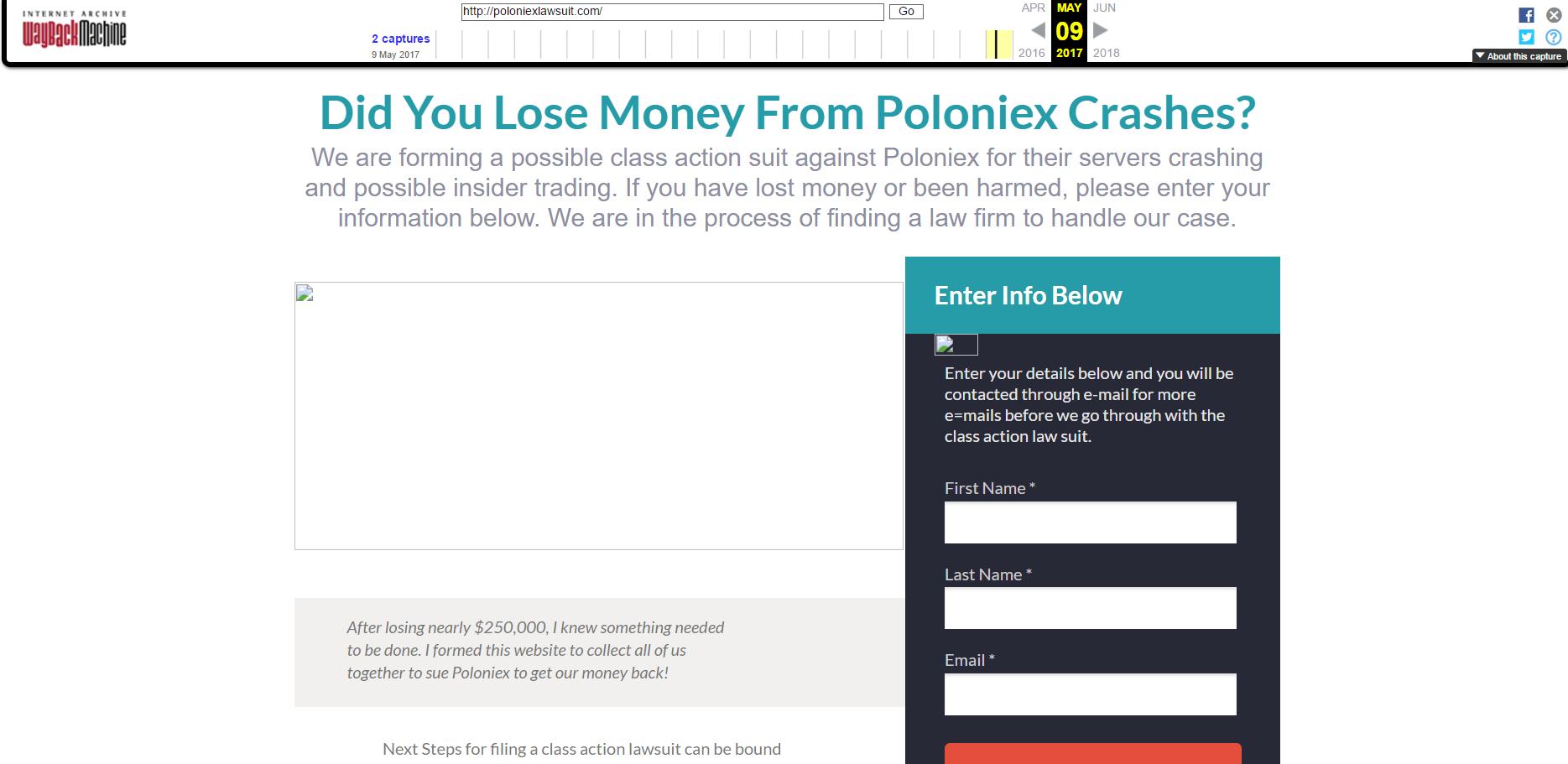 Против биржи Poloniex может быть подан коллективный иск