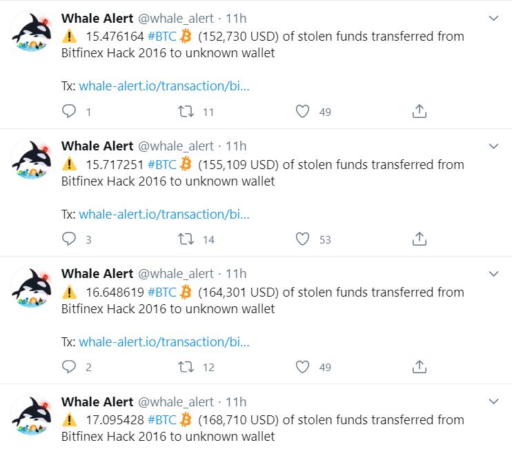 Неизвестные осуществили перевод на $4 млн в похищенных с Bitfinex биткоинах